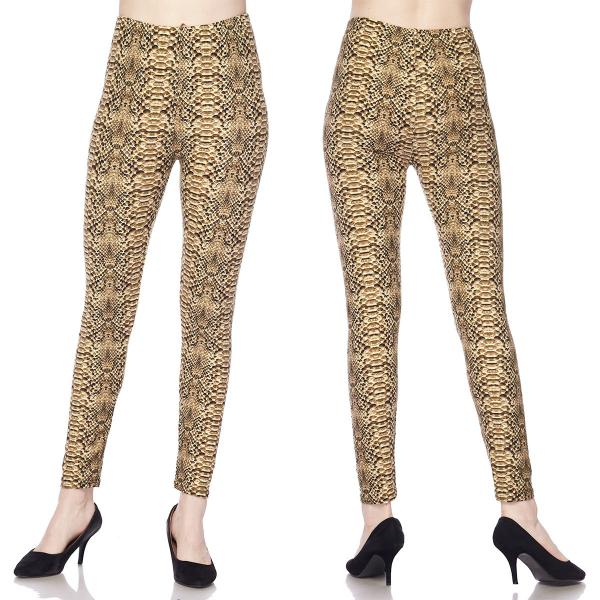 Wholesale Brushed Fiber Leggings - Ankle Length Prints SOL0 L003 Snake Skin Brushed Fiber Leggings - Ankle Length Prints - One Size Fits (S-L)