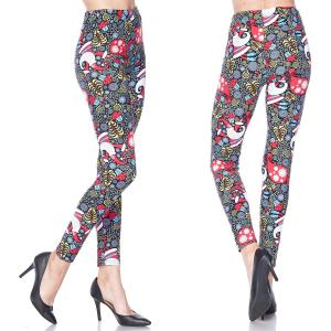 Brushed Fiber Leggings - Ankle Length Prints L053 Gifts & Snowflakes - Plus Size (XL-2X)