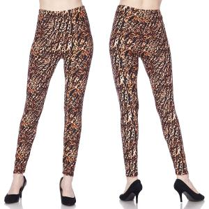 Brushed Fiber Leggings - Ankle Length Prints L008 Animal Print Brushed Fiber Leggings - Ankle Length Prints - Plus Size (XL-2X)