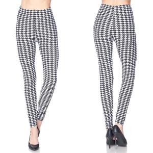 Brushed Fiber Leggings - Ankle Length Prints L072 Houndstooth Black-White Brushed Fiber Leggings - Ankle Length Prints - Plus Size (XL-2X)