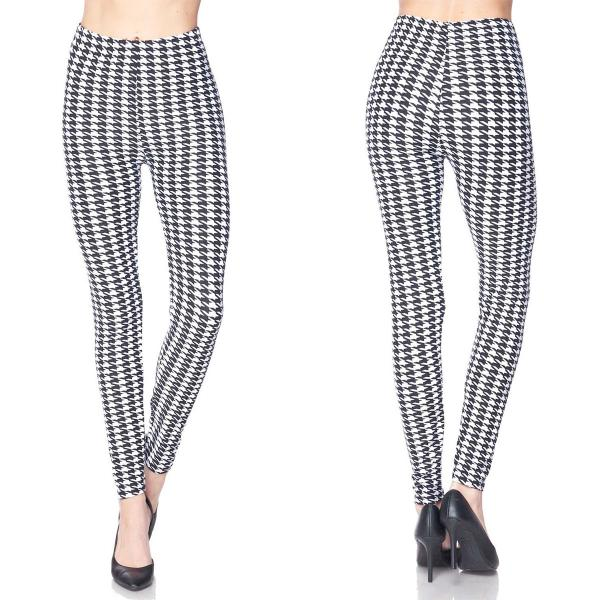 Wholesale Brushed Fiber Leggings - Ankle Length Prints SOL0P L072 Houndstooth Black-White Brushed Fiber Leggings P - Ankle Length Prints - Curvy Fits (L-1X)