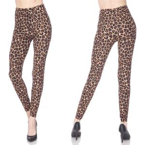 Brushed Fiber Leggings - Ankle Length Prints F719 Animal Print Brushed Fiber Leggings - Ankle Length Prints - One Size Fits All