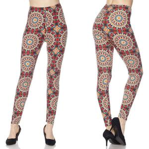 Brushed Fiber Leggings - Ankle Length Prints J047 Symmetry Circus Brushed Fiber Leggings - Ankle Length Prints - One Size Fits All