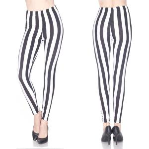 Brushed Fiber Leggings - Ankle Length Prints F729 Vertical Stripe Black-White Brushed Fiber Leggings - Ankle Length Prints - Plus Size (XL-2X)