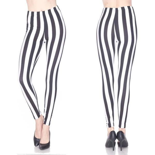 Wholesale Brushed Fiber Leggings - Ankle Length Prints SOL0P F729 Vertical Stripe Black-White Brushed Fiber Leggings P - Ankle Length Prints - Curvy Fits (L-1X)