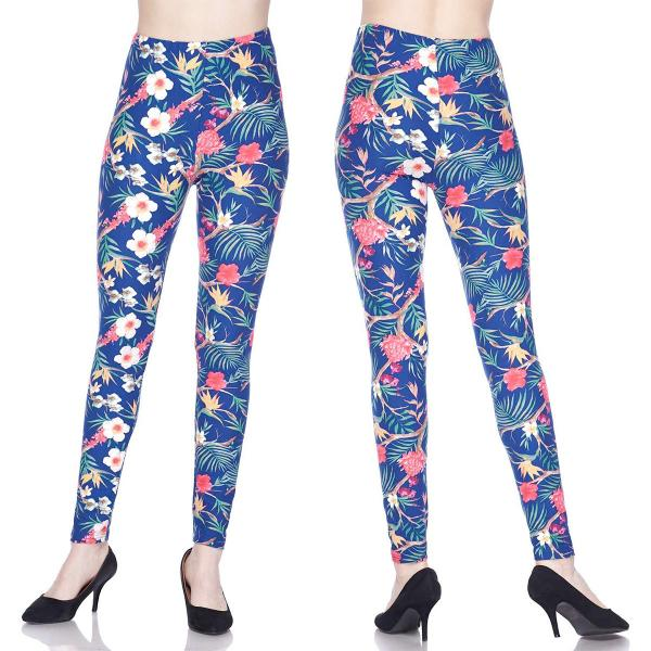 Wholesale Brushed Fiber Leggings - Ankle Length Prints SOL0P J312 Floral Forest Brushed Fiber Leggings P - Ankle Length Prints - Curvy Fits (L-1X)