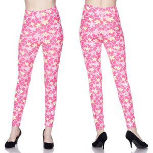 Brushed Fiber Leggings - Ankle Length Prints J313 Pink Floral Brushed Fiber Leggings - Ankle Length Prints - Plus Size (XL-2X)