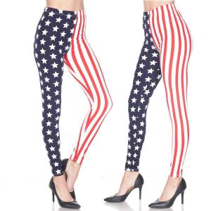 Brushed Fiber Leggings - Ankle Length Prints F743 Stars and Stripes Brushed Fiber Leggings - Ankle Length Prints - One Size Fits All