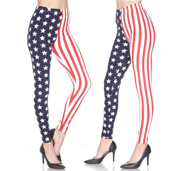 Wholesale Brushed Fiber Leggings - Ankle Length Prints SOL0 F743 Stars and Stripes Brushed Fiber Leggings - Ankle Length Prints - One Size Fits (S-L)