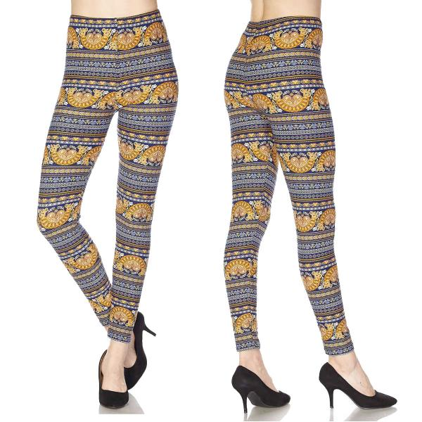 Wholesale Brushed Fiber Leggings - Ankle Length Prints SOL0 F457 MULTI PRINT Brushed Fiber Leggings P - Ankle Length Print  - Curvy Fits (L-1X)