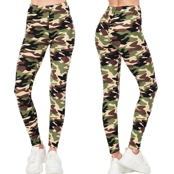 Wholesale Brushed Fiber Leggings - Ankle Length Prints SOL0P F121 CAMO - Brushed Fiber Leggings - Ankle Length Prints SOL0P - One Size Fits (S-L)