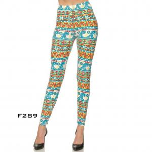 Wholesale  F289 AZTEC PRINT - Brushed Fiber Leggings - Ankle Length Prints SOL0P - One Size Fits (S-L)