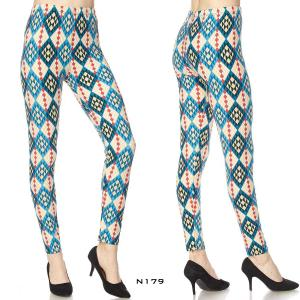 Wholesale  N179 DIAMOND MULTI PRINT - Brushed Fiber Leggings - Ankle Length Prints SOL0P - One Size Fits (S-L)