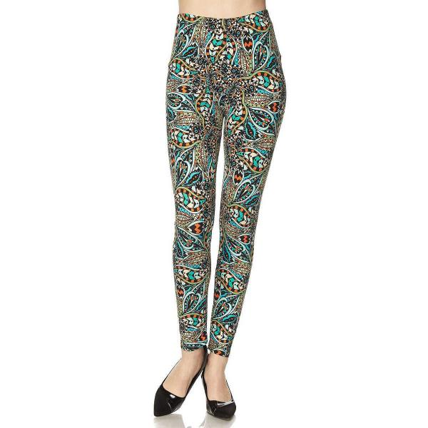 Brushed Fiber Leggings - Ankle Length Prints SOL0 N125 - Paisley Floral Print Yummy Brushed Ankle Leggings - Ankle Length Prints - XL-1X