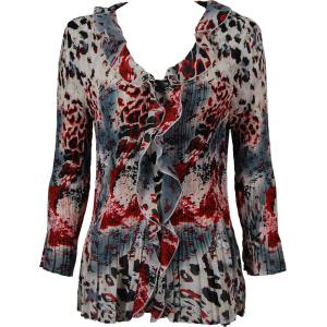 Georgette Mini Pleats - Ruffle Blouse Reptile Floral - Red - One Size (S-XL)