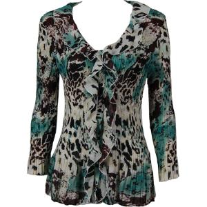 Georgette Mini Pleats - Ruffle Blouse Reptile Floral - Teal - One Size (S-XL)