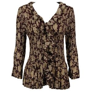 Georgette Mini Pleats - Ruffle Blouse Floral Brown-Ivory - One Size (S-XL)