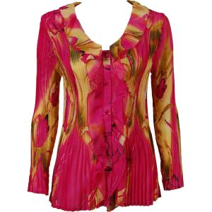 Georgette Mini Pleats - Ruffle Blouse Tulips Magenta-Gold - One Size (S-XL)