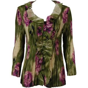 Georgette Mini Pleats - Ruffle Blouse Roses Olive-Purple - One Size (S-XL)