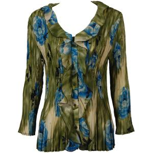 Georgette Mini Pleats - Ruffle Blouse Roses Olive-Blue - One Size (S-XL)