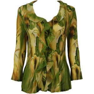 Georgette Mini Pleats - Ruffle Blouse Tulips Green-Gold - One Size (S-XL)