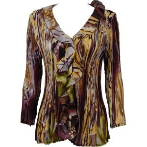 Georgette Mini Pleats - Ruffle Blouse Abstract Floral - Eggplant-Gold - One Size (S-XL)
