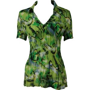wholesale Georgette Mini Pleats - Half Sleeve with Collar Abstract Watercolors Lime-Black - One Size (S-XL)