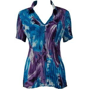 wholesale Georgette Mini Pleats - Half Sleeve with Collar Turquoise-Purple Watercolors - One Size (S-XL)
