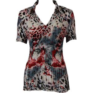 wholesale Georgette Mini Pleats - Half Sleeve with Collar Reptile Floral - Red - One Size (S-XL)