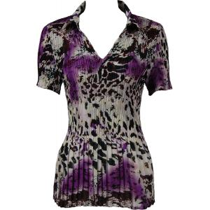wholesale Georgette Mini Pleats - Half Sleeve with Collar Reptile Floral - Purple - One Size (S-XL)
