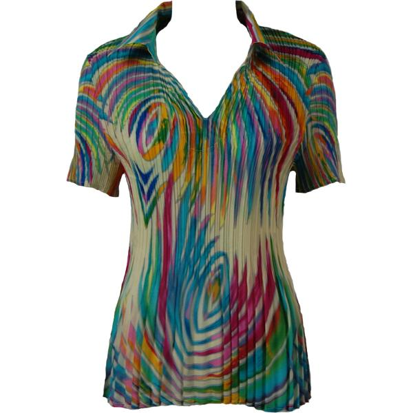 wholesale Georgette Mini Pleats - Half Sleeve with Collar Rainbow Swirl on Ivory - One Size (S-XL)