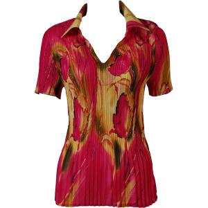 wholesale Georgette Mini Pleats - Half Sleeve with Collar Tulips Magenta-Gold - One Size (S-XL)