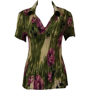 wholesale Georgette Mini Pleats - Half Sleeve with Collar Roses Olive-Purple - One Size (S-XL)
