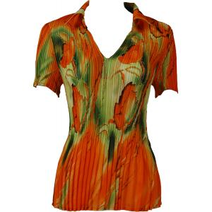 wholesale Georgette Mini Pleats - Half Sleeve with Collar Tulips Green-Orange - One Size (S-XL)