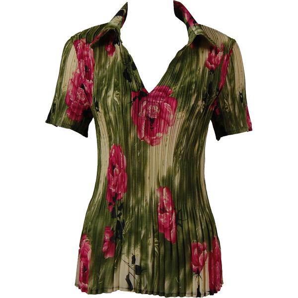 wholesale Georgette Mini Pleats - Half Sleeve with Collar Roses Olive-Pink - One Size (S-XL)