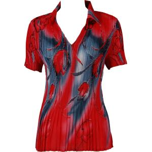 wholesale Georgette Mini Pleats - Half Sleeve with Collar Tulips Charcoal-Red - One Size (S-XL)