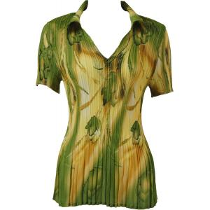 wholesale Georgette Mini Pleats - Half Sleeve with Collar Tulips Green-Gold - One Size (S-XL)