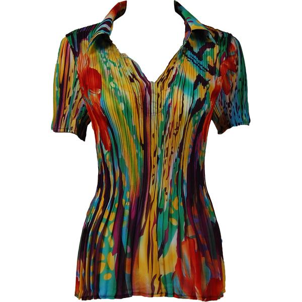wholesale Georgette Mini Pleats - Half Sleeve with Collar Abstract Floral - Rainbow - One Size (S-XL)