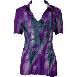 wholesale Georgette Mini Pleats - Half Sleeve with Collar Tulips Charcoal-Purple - One Size (S-XL)