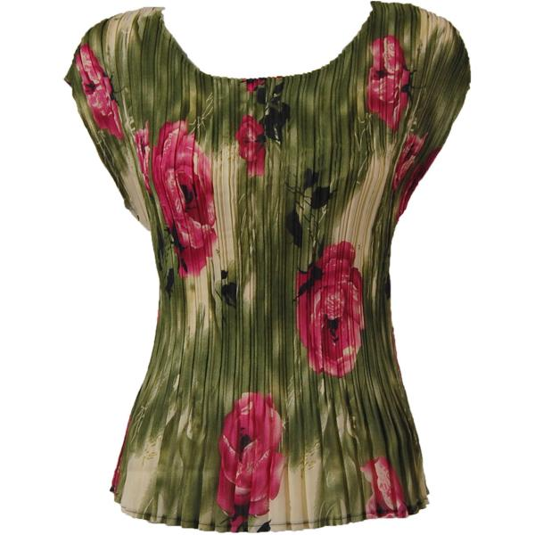 Georgette Mini Pleats - Cap Sleeve Roses Olive-Pink - One Size (S-L)