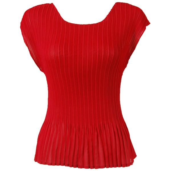 wholesale Georgette Mini Pleats - Cap Sleeve Solid Red - ONE SIZE FITS (S-L)