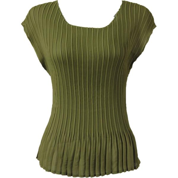Georgette Mini Pleats - Cap Sleeve Solid Olive - One Size (S-L)
