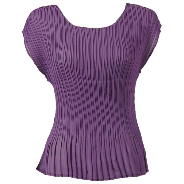 Georgette Mini Pleats - Cap Sleeve Solid Eggplant - One Size (S-L)