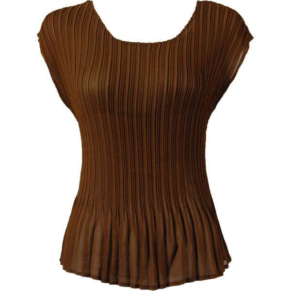 wholesale Georgette Mini Pleats - Cap Sleeve Solid Brown - ONE SIZE FITS (S-L)