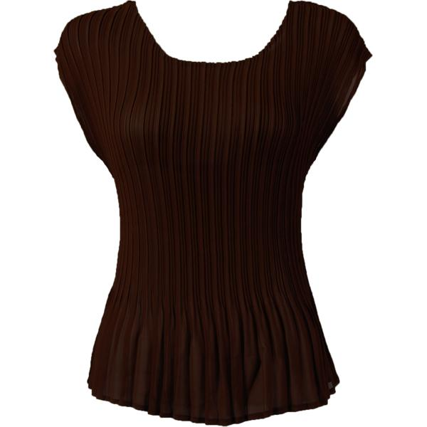 Georgette Mini Pleats - Cap Sleeve Solid Dark Brown - One Size (S-L)