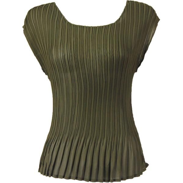 Georgette Mini Pleats - Cap Sleeve Solid Moss - One Size (S-L)