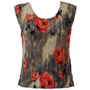Magic Crush Georgette - Sleeveless* Roses Grey-Coral - One Size (S-M)