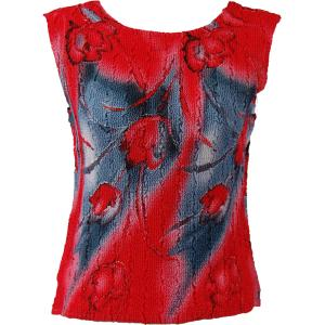Magic Crush Georgette - Sleeveless* Tulips Charcoal-Red - Standard Size Fits (S-M)