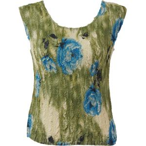 Magic Crush Georgette - Sleeveless* Roses Olive-Blue - One Size (S-M)