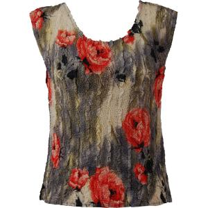 Magic Crush Georgette - Sleeveless* Roses Grey-Coral - Plus Size (L-XL)